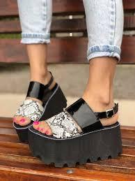 Sandalias de plataforma animal print, sandalias de plataforma modernas