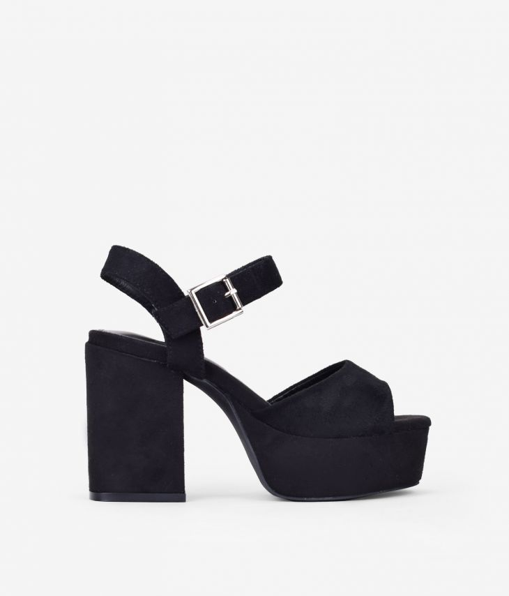 sandalias de plataforma tacón ancho, sandalias de plataforma negras. sandalias de plataforma fiesta